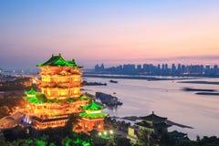 Pabellón del tengwang de Nanchang en puesta del sol Fotos de archivo libres de regalías