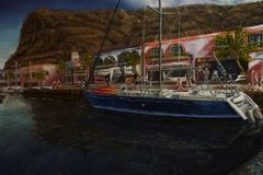 Pablo Alba Painting von Puerto de Mogan in den Kanarischen Inseln lizenzfreie stockfotografie