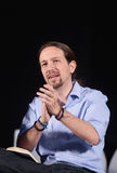 Pablo iglesias gestures during campaign rally Stock Image