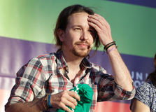 Pablo iglesias gesturing during meeting in the island of Mallorca. Podemos We Can party leader Pablo Iglesias, one of the leading candidates for Spain`s national Stock Photo