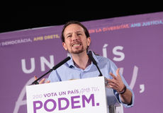 Pablo iglesias gesturing at political speech Royalty Free Stock Photo
