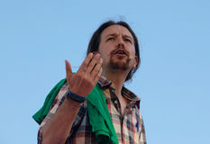 Pablo iglesias leader of Ppodemos Spanish political party gesturing during meeting in the island of Mallorca. Podemos We Can party leader Pablo Iglesias, one of Royalty Free Stock Photography