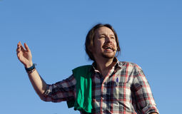 Pablo iglesias leader of spanish Podemos political party gesturing during meeting. Podemos We Can party leader Pablo Iglesias, one of the leading candidates for Royalty Free Stock Photos