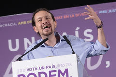 Pablo iglesias 034. Podemos (We Can) party leader Pablo Iglesias, one of the leading candidates for Spain's national election, gestures during a campaign rally Royalty Free Stock Photos