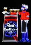 Pabst Blue Ribbon Beer Neon Sign Stock Photos