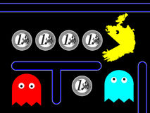 PAC-IRELAND. Ireland Receiving Aid in Pac-Man Game Style vector illustration