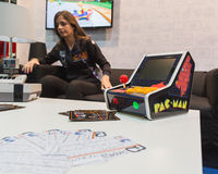 Pac Man console at Games Week 2014 in Milan, Italy Stock Image