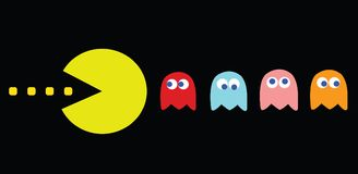 Pac-Man game theme, retro game characters stock illustration