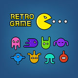 Pac man and ghosts for arcade computer game vector set. Pac man and ghosts for arcade computer game vector. Set of character retro monster illustration Royalty Free Stock Photo