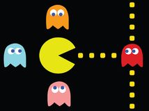 Pac-Man traffic jam. Vector illustration. Retro computer game with Pac-Man, Pinky, Blinky, Inky and Clyde characters royalty free illustration