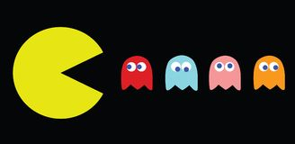 Pac-Man vector illustration, retro game characters. Pac-Man vector illustration. Retro computer game with Pac-Man, Pinky, Blinky, Inky and Clyde characters vector illustration
