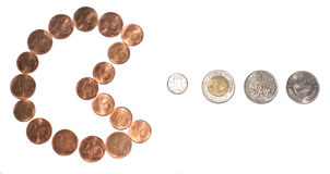 Pac Money. Pac man, money globalization concept: euro currency coins eating other europe coins Stock Photography