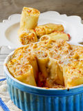 Paccheri gratin baked. Stock Photos