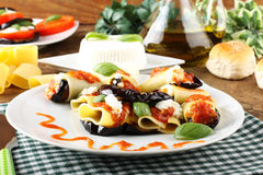 Paccheri pasta with eggplant, ricotta cheese and tomato Royalty Free Stock Images