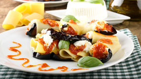 Paccheri pasta with eggplant, ricotta cheese and tomato Royalty Free Stock Photo