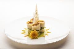Creative Italian Cuisine: elegant paccheri pasta plate stock image