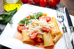 Paccheri with tomatoes sauce Stock Photo