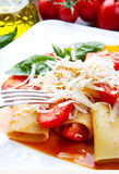 Paccheri with tomatoes sauce Stock Photography