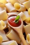 Paccheri, traditional Neapolitan pasta and tomato sauce Stock Photos