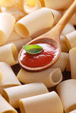 Paccheri, traditional Neapolitan pasta and tomato sauce Stock Images