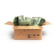 Pacchetti dei dollari dei soldi in una scatola Fotografia Stock Libera da Diritti