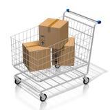 pacchetti del carrello di acquisto 3D - concetto online di acquisto illustrazione vettoriale