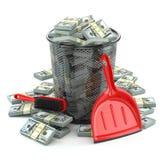 Pacchetti del dollaro nel bidone della spazzatura Spreco di soldi o valuta c Fotografia Stock