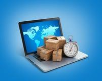 Pacchetti del pacchetto delle scatole di cartone e computer portatile - logistici, carico, de Fotografie Stock Libere da Diritti