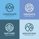 Pacchetto astratto Logo Template Design Vector della montagna della natura Fotografia Stock Libera da Diritti
