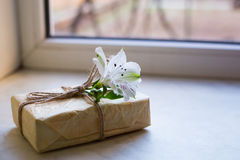 Pacchetto avvolto con il singolo fiore di alstroemeria vicino alla finestra Fotografia Stock Libera da Diritti