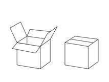 Pacchetto in bianco e nero della scatola di cartone aperto e chiuso, vettore Immagini Stock Libere da Diritti