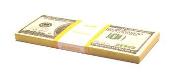 Pacchetto con i dollari Immagine Stock