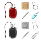Pacchetto con sangue erogatore e l'altra attrezzatura Icone stabilite della raccolta della medicina nel fumetto, simbolo monocrom royalty illustrazione gratis