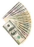 Pacchetto dei dollari. Su un fondo bianco. Fotografia Stock