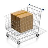 pacchetto del carrello di acquisto 3D - concetto online di acquisto illustrazione di stock