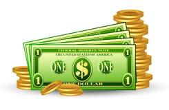 Pacchetto del dollaro con le monete Fotografie Stock Libere da Diritti