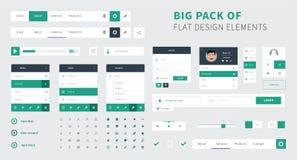 Pacchetto del vettore piano del corredo di ui di progettazione per webdesign