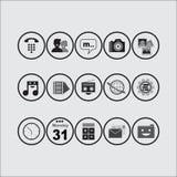 Pacchetto dell'icona (BW) Fotografia Stock
