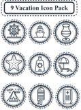 Pacchetto dell'icona di vacanza Immagine Stock