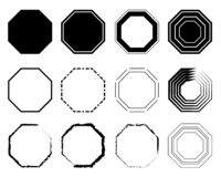 Pacchetto dell'icona dell'ottagono La geometria otto ottagonali ha parteggiato linea dell'ottagono del poligono illustrazione vettoriale