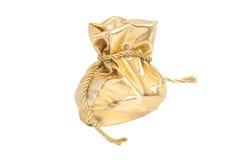 Pacchetto della borsa dell'oro per il regalo con la corda dorata immagini stock libere da diritti