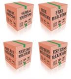 Pacchetto della casella di carboard di consegna espressa illustrazione vettoriale