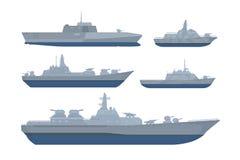 Pacchetto della raccolta dell'insieme della nave di guerra con il vari modello e dimensione con stile moderno e colore nero grigi illustrazione di stock