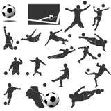 Pacchetto della raccolta di vettore di calcio delle icone Immagine Stock