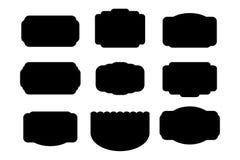 pacchetto delle etichette del nero delle forme Fotografia Stock Libera da Diritti