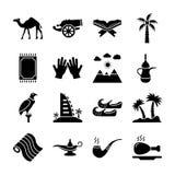 Pacchetto delle icone di vecchia eredità tradizionale nei paesi arabi del golfo royalty illustrazione gratis
