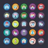 Pacchetto delle icone piane creative delle costruzioni Fotografie Stock Libere da Diritti