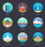 Pacchetto delle illustrazioni di vettore delle città del mondo illustrazione di stock