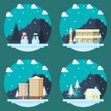 Pacchetto delle scene piane di inverno di progettazione illustrazione di stock
