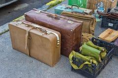 Pacchetto delle valigie d'annata, bagagli Fotografia Stock